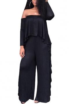 Womens Sexy Off Shoulder Top&Ruffled Hem Pants Plain Suit Black