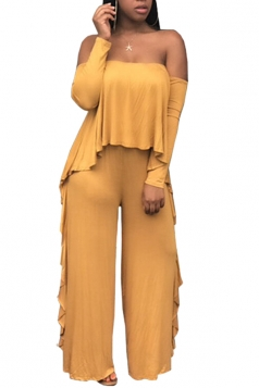 Womens Sexy Off Shoulder Top&Ruffled Hem Pants Plain Suit Yellow