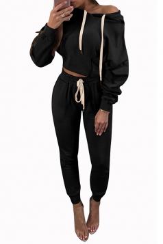 Womens Casual Drawstring Hoodie&Plain Pants Sports Suit Black