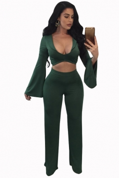 Womens Sexy Low Cut Bell Sleeve Crop Top&Leisure Pants Suit Green