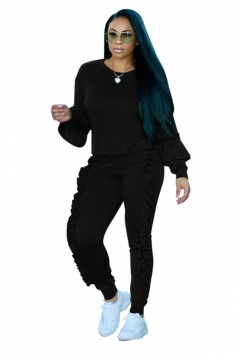 Womens Long Sleeve Ruffled Hem Top&Drawstring Pants Plain Suit Black