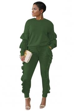 Womens Long Sleeve Ruffled Hem Top&Drawstring Pants Plain Suit Green
