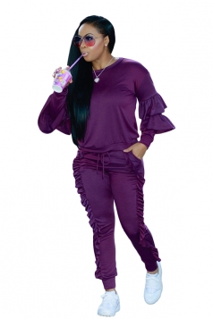 Womens Long Sleeve Ruffled Hem Top&Drawstring Pants Plain Suit Purple