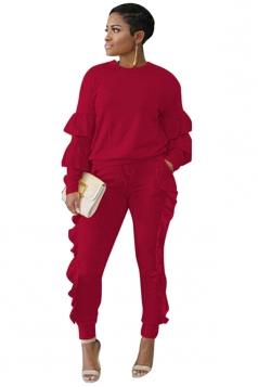 Womens Long Sleeve Ruffled Hem Top&Drawstring Pants Plain Suit Ruby
