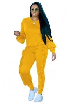 Womens Long Sleeve Ruffled Hem Top&Drawstring Pants Plain Suit Yellow