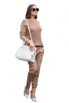 Womens Loose Crew Neck Long Sleeve Top&Pockets Pants Plain Suit Khaki