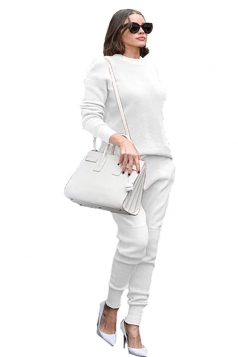 Womens Loose Crew Neck Long Sleeve Top&Pockets Pants Plain Suit White