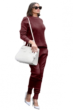 Womens Loose Crew Neck Long Sleeve Top&Pockets Pants Plain Suit Ruby