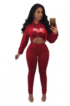 Womens Sexy Bandage Drawstring Hoodie&Plain Leggings Sports Suit Red