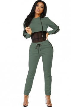 Womens Hooded Crop Top&Drawstring Striped Pants Sports Suit Army Green
