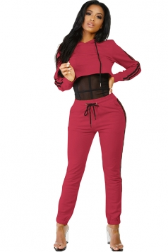 Womens Sexy Hooded Crop Top&Drawstring Striped Pants Sports Suit Red