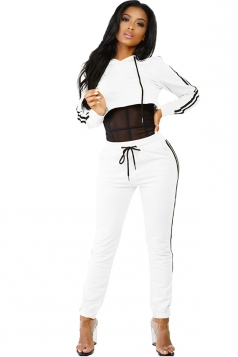 Womens Sexy Hooded Crop Top&Drawstring Striped Pants Sports Suit White