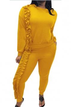 Womens Crew Neck Pocket Ruffled Hem Long Sleeve Plain Suit Yellow