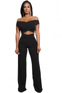 Womens Sexy Off Shoulder Bandage Cut Out Wide Leg Plain Suit Black