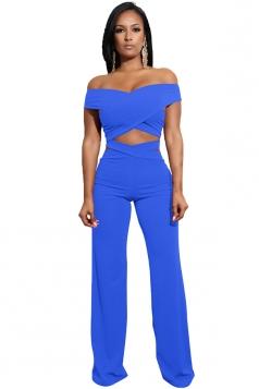 Womens Sexy Off Shoulder Bandage Cut Out Wide Leg Suit Light Blue