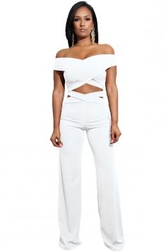 Womens Sexy Off Shoulder Bandage Cut Out Wide Leg Plain Suit White