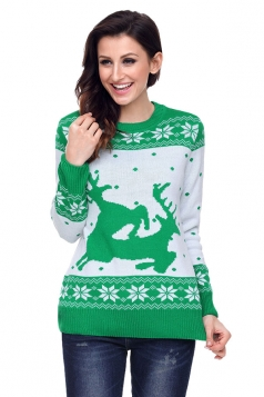Womens Crew Neck Snowflake Reindeer Printed Christmas Sweater Green