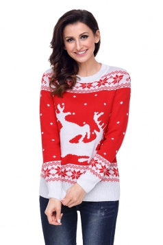 Womens Crew Neck Snowflake Reindeer Printed Ugly Christmas Sweater Red