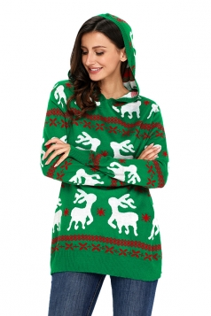 Womens Hooded Reindeer Snowflake Printed Ugly Christmas Sweater Green