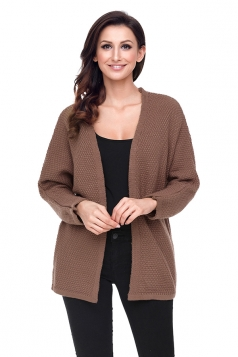 Womens Oversized Long Sleeve Midi Length Plain Cardigan Coffee