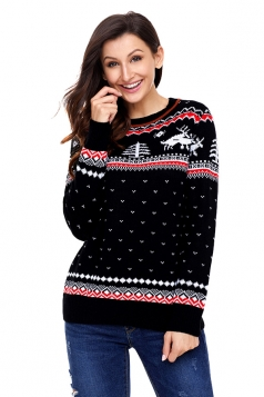 Womens Crew Neck Reindeer Printed Fair Isle Christmas Sweater Black