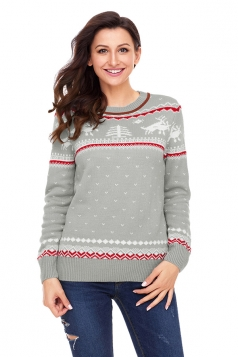 Womens Crew Neck Reindeer Printed Fair Isle Christmas Sweater Gray