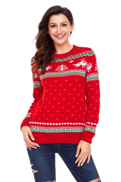 Womens Crew Neck Reindeer Printed Fair Isle Christmas Sweater Red