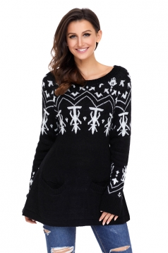 Womens Crew Neck A-Line Snowflake Printed Ugly Christmas Sweater Black