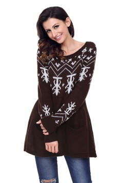 Womens Crew Neck A-Line Snowflake Printed Ugly Christmas Sweater Brown