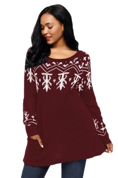 Womens Crew Neck A-Line Snowflake Printed Ugly Christmas Sweater Ruby