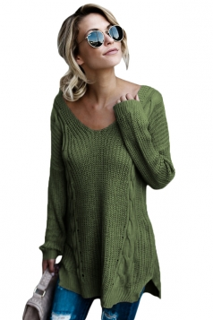 Womens Sexy V-Neck Backless Plain Pullover Cable Knit Sweater Green