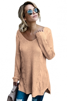 Womens Sexy V-Neck Backless Plain Pullover Cable Knit Sweater Khaki
