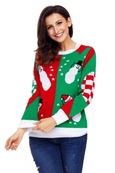 Womens Crew Neck Plaid Snowman Printed Ugly Christmas Sweater Green