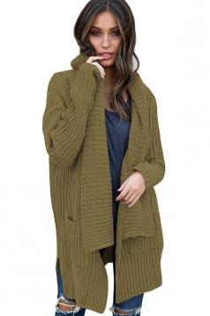 Womens Comfy Turndown Collar Pockets Side Slit Cardigan Army Green