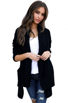 Womens Comfy Turndown Collar Pockets Side Slit Plain Cardigan Black