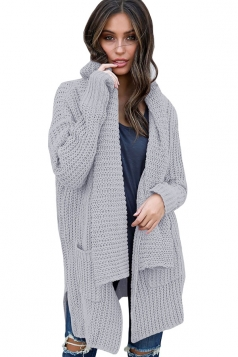 Womens Comfy Turndown Collar Pockets Side Slit Plain Cardigan Gray