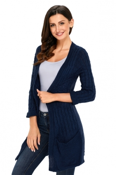 Womens Trendy Pockets 3/4 Length Sleeve Plain Knit Cardigan Navy Blue