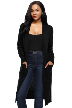 Womens Oversized Pockets Midi Length Long Sleeve Plain Cardigan Black