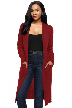 Womens Oversized Pockets Midi Length Long Sleeve Plain Cardigan Ruby