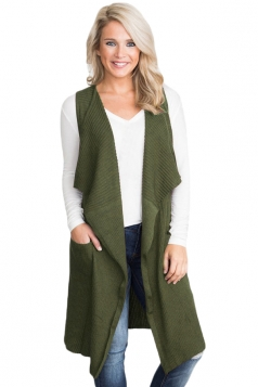 Womens Casual Turndown Collar Pocket Long Cardigan Vest Army Green