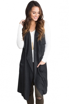 Womens Casual Turndown Collar Pocket Long Cardigan Vest Black