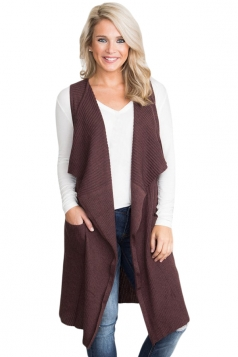 Womens Casual Turndown Collar Pocket Long Cardigan Vest Coffee