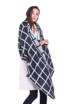 Womens Classic Shawl Tassel Winter Tartan Plaid Scarf Black