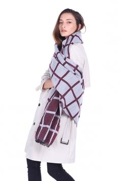 Womens Classic Shawl Tassel Winter Tartan Plaid Scarf Ruby