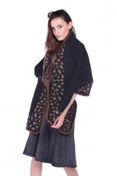 Womens Vintage Shawl Poncho Leopard Pattern Scarf Black