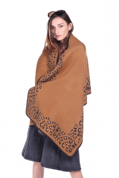 Womens Vintage Shawl Poncho Leopard Pattern Scarf Ginger