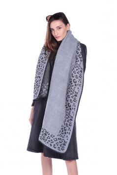 Womens Vintage Shawl Poncho Leopard Pattern Scarf Gray