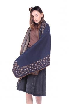 Womens Vintage Shawl Poncho Leopard Pattern Scarf Navy Blue