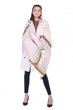 Womens Vintage Shawl Tassel Geometric Pattern Fair Isle Scarf Pink