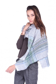 Womens Trendy Stole Fringe Winter Warm Striped Scarf Gray